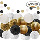 Paxcoo 22 Pcs Black and Gold Party Decorations with Tissue Paper Pom Poms and Paper Lanterns