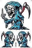 by soljo Faucheuse Crâne Bleu Sticker Tuning Racing Motocross Autocollant Feuille 27 x 18 cm