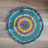 Mandala Runder gehäkelter Teppich RegenbogenTeppich Läufer Matte Unterlage Vorleger Fußabtreter moderner Fleckerl- und Baumwollteppichen