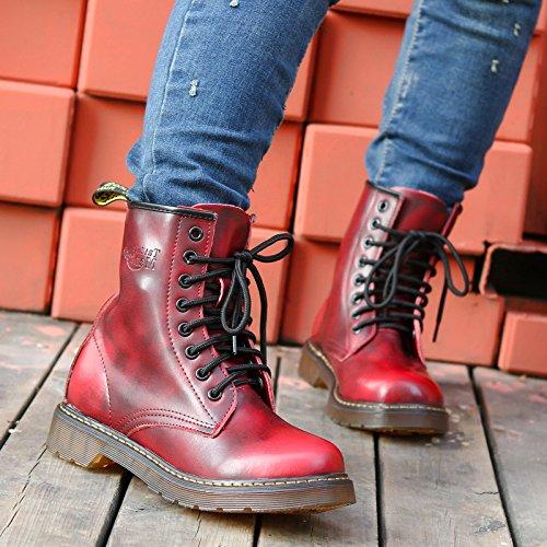 &zhou femme automne/hiver chaud en cuir bottes mode d'amorçage marée Martin loisirs Retro anti-dérapants Red