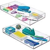 mDesign organiseur de bureau – rangement bureau moderne pour tiroir – boite de rangement cuisine pratique pour ustensiles var