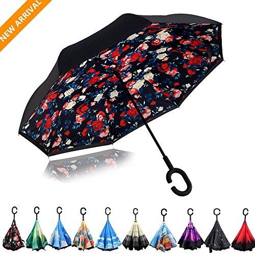 Regenschirm Creative Seitenverkehrt Travel Regenschirm Mit C Geformter Griff, Sonne Oder Regen Regenschirme (Bellamy Rot, 41.7×31.5inch/106×80cm)