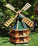 MEGA Windmühle ,Windmühle für Garten, windmühlen garten, WMB140gr+bl-EOS grüngrau blau aus Holz braun ohne/ mit Solarbeleuchtung