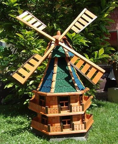 Mega Decorative Garden Windmill Ornament Wind Garden Windmill, Grey-Green & Bl EOS Grüngrau Blue Brown Wood Without/with solar light