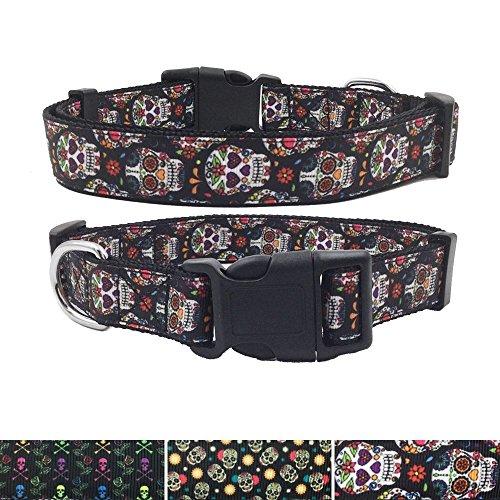 AIDIYA Hundehalsband Klassisch Einzigartiges Design Basic Polyester Nylon Hundehalsband Langlebig Das Halsband Hundehalsband hunter (M, Blumen Schädel)