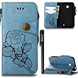 BtDuck Hülle Nokia Lumia 630 N630 Retro Blume Frauen, Slim Tasche Vintage Brieftasche Handyhülle Ledertasche Flip Cover SchutzHülle Nokia Lumia 630 N630 CoverSilikon Back Brieftasche Blau
