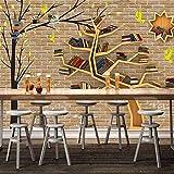 BIZI Moderne Mode-Karikatur-großer Baum-Bücherregal-Backsteinmauer-Seitenwand-Tapete des feinen Dekor-3D,200 * 140 cm