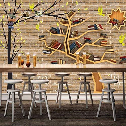 BIZI Moderne Mode-Karikatur-großer Baum-Bücherregal-Backsteinmauer-Seitenwand-Tapete des feinen...