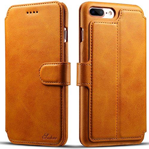 iPhone 7 Plus Etui Wallet ,VENTER® Etui Wallet iPhone 7 Plus - Cover iPhone 7 Plus - Hülle, Wallet Kartenfach Premium Ledertasche mit Stand-Funktion - Praktishe Leder Flip Schutzhülle für Apple iPhone Kamel