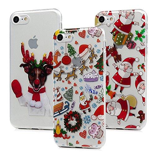 3x Cover iPhone 7 Plus, iPhone 8 Plus Custodia Silicone Morbido Trasparente TPU Flessibile Gomma design IMD - MAXFE.CO Case Ultra Sottile Cassa Protettiva per iPhone 7 Plus / iPhone 8 Plus - Natale 2 Natale 2