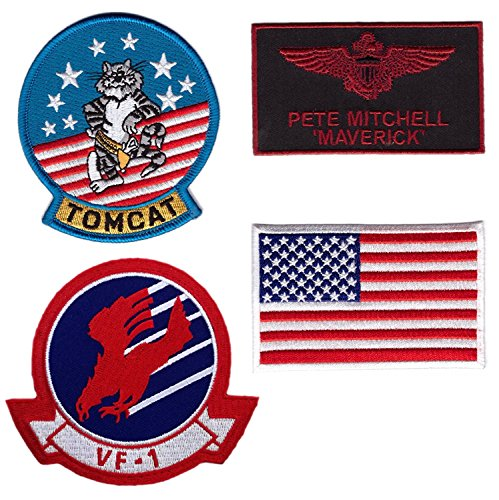 (Hook Fastener Set 4 - Maverick Top Gun Movie Navy Fighter Cosplay Jumpsuit Costume Patches Klettband Taktish Aufnäher)