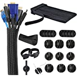 Kabelmanagement-organizerset, kabelmanagement systeemset, kabelbeheer voor bureau, 30 klittenbandkabelbinders, 10 kabelhouder