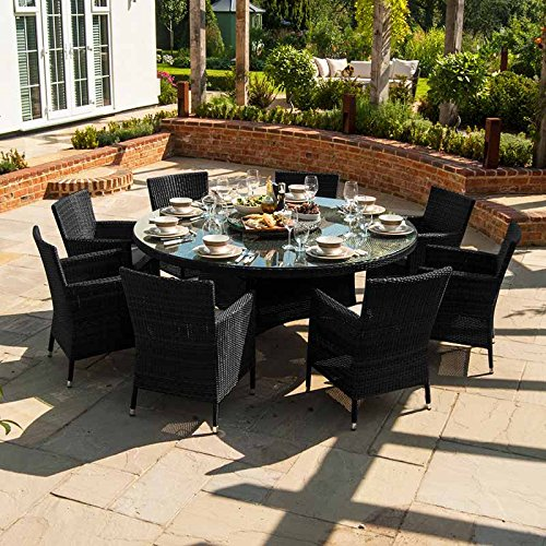Maze Rattan Outdoor Garden Furniture Baby LA 8 Seat Round Table Rattan D