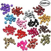 ULTNICE 100 unids Cuentas de Cera de Sellado Abalorios de Cera de Lacre de Cartas (Colores Surtidos)