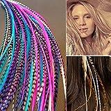 Extensions de cheveux plumes vraies de Sunwell 100% plume de coq de couleur mélangée de 3 pcs + 2 perles (3C-1)