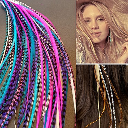 Sunwell feather hair extensions kit con 26/39/52sintetico piume, 50perline, pinze e gancio strumento