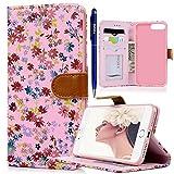 iPhone 7 Plus Hülle, Yokata PU Leder Flip Vintage Farbig Blumen Case Motiv Weich TPU Silikon Backcover mit Credit Card Slots Brieftasche Tasche + 1 x Kapazitive Feder