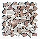 M-1-004 - 1m² = 11 Fliesen - Naturstein Marmor Bruchstein Mosaikfliesen Marmormosaik Fliesen Lager Verkauf Stein-Mosaik Herne NRW