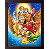 Art N Store: Lord Vishnu & Goddess Lakshmi Mount On Lord Garuda/High Contrast HD Printed Picture/Religious & Decor Poster Painting With Frame (30 X 23.5 X 1.5 Cm_ Acrylic Sheet Used)