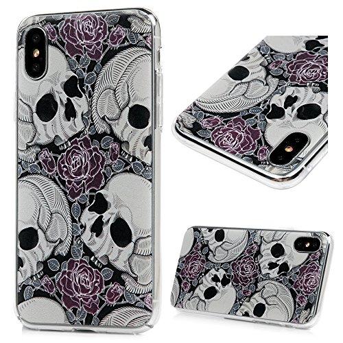 Lanveni Handyhülle für iPhone X Hülle Etui Protective Case Cover PC Hardcase Plastik Schutzhülle Handytasche mit Bunte Muster Cover Design (1x PC Hülle +1 x Kondensatorstift + 1 x HD Schutzfolie) Farbe 9
