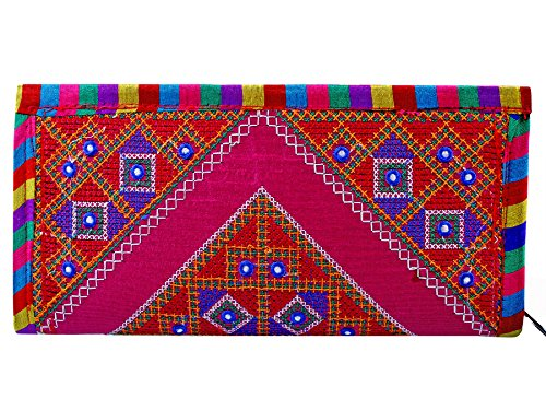 Para Ladies Traditional Hand Clutch Women Embroideries Wallet, Pink  available at amazon for Rs.199