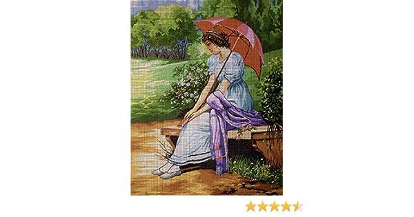 hudemas Needlepoint Kit Girl with Umbrella 9x11.8 23x30cm Printed Canvas cod.101