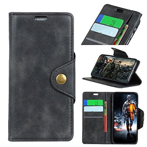 Sunrive Hülle Für Alcatel A7 XL 7071D, Magnetisch Schaltfläche Ledertasche Schutzhülle Etui Leder Case Cover Handyhülle Schalen Handy Tasche Lederhülle(Y-Schwarz)+Gratis Eingabestift
