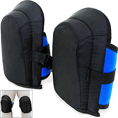 Gel-Knieschoner ✔ 2 Stück in Unigröße ✔ elastische ✔ stufenlos verstellbare Stoffriemen - Paar Gel Knieschützer Knieschutz Kniepolster