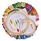 Kit de Inicio de Bordado, Hisome Kit de Herramienta de Punto de Cruz, 5 Piezas Aros de Bambú, 100 Hilos de Color, 12 Por 18 Pulgadas Set de 14 Agujas y Reserva Clásica Aida y Agujas