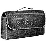 Kofferraumtasche mit Klett Farbe schwarz aus Filz für das Auto Autotasche Kofferraum oder Rückbank 48 x 28 x 14 cm Toolbag Farbwahl (schwarz-grau)