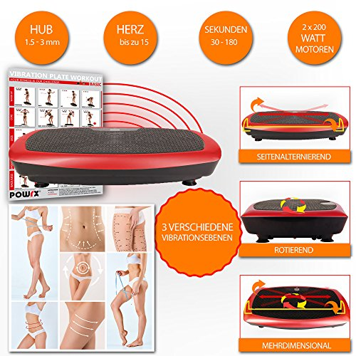POWRX Vibrationsplatte seitenalternierend Vibration Shaper Basic (Schwarz-Rot)