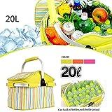 A-szcxtop 20L pieghevole borsa cestino da picnic mercato cestino per la spesa in alluminio telaio in lega leggera e durable-green
