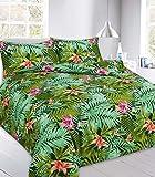 Iyan Linens Ltd New Tropical Leaf Multi Design Botanical Palm Leaf Charlotte Floral Quilt Duvet Cover Set (Abby Green-Double)