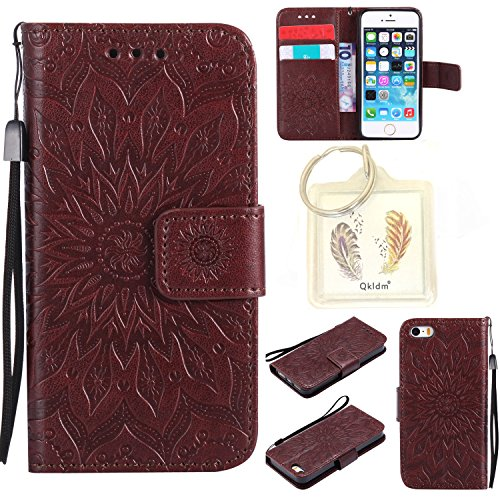 Coque iPhone 5 / 5G / 5S Case Wallet Phone Stand Cover with Credit Card Slots Flip Protective Case For Apple iPhone 5 / 5G / 5S -photo Frame Keychain (*/5) 8