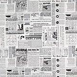 Fabulous Fabrics Dekostoff Ottoman News - Weiss/grau -