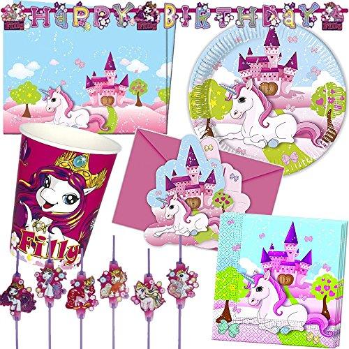 119-teiliges * EINHORN FILLY * PARTY SET für Kindergeburtstag mit 6-8 Kinder: Teller, Becher, Servietten, Einladungen, Tischdecke, Trinkhalme, Parykette, Luftrüssel, Luftschlangen, Luftballons, u.v.m. // Mottoparty Motto Party rosa Pferd lila Mädchen Kinder Geburtstag Einhörner Fairy unicorn Feen Magie