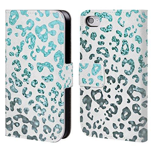 Offizielle Monika Strigel Mint Tier Glitzer Druck Brieftasche Handyhülle aus Leder für Apple iPhone 4 / 4S