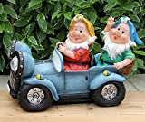 Wonderland Two Gnome Sitting in car solar light (Garden or home decor , gifting , gift)