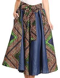 Sakkas Dayo Circle Mid Skirt With Elastic Waist colorful Ankara African Wax Dutch
