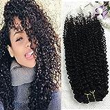 Full Shine 16 Pulgadas 100% Brazilian Remy Human Hair Kinky Curly Clip en la Extensión Del Pelo Humano Para Las Mujeres Negras 7Pcs 100Gramos