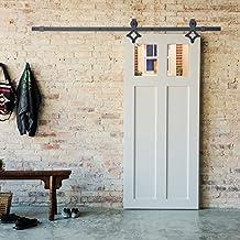 """Hahaemall 1,52 m/152,40 cm (60"""") Pannello scorrevole per interni, guida in acciaio, colore: nero, effetto legno, porta scorrevole, per guardaroba, sistema di binario singolo"""