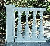 Balustrade en pierre reconstituée blanc (k2) complet, longueur :  125 cm, hauteur :  117 cm/108 cm-poids :  290 kg