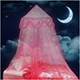 Lamdgbway Bed Canopy for Girls Glow in The Dark Stars and Moon Princess Mosquito Net Crib Hanging Tent Gift for Kids…
