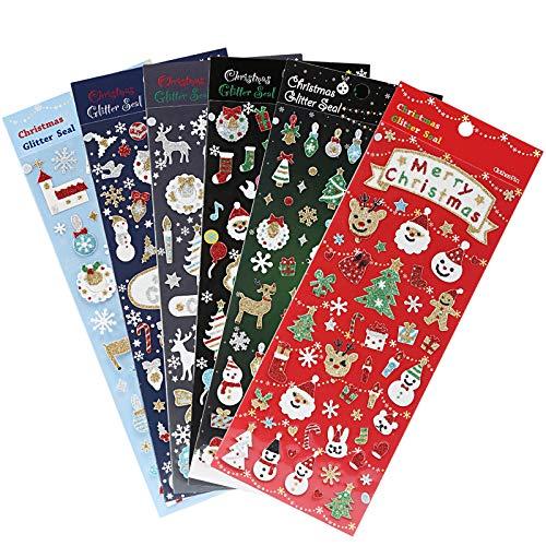 Naler 5 x Weihnachtsstickers Glitzer Weihnacht Stickers für Dekoration Scrapbookung Weihnachtsgeschek Verpackung
