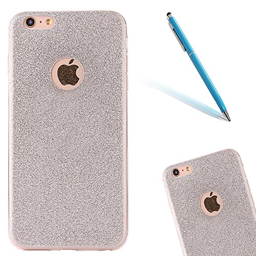 Clear Crystal Rubber Protettivo Case Skin per Apple iPhone 6/6s 4.7, CLTPY Moda Brillantini Glitter Sparkle Lustro Progettare Protezione Ultra Sottile Leggero Cover per iPhone 6,iPhone 6s + 1x Stilo  Silver