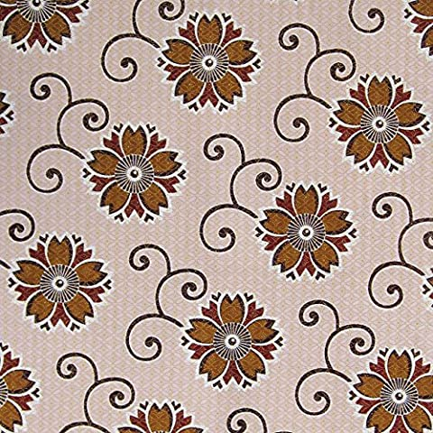 Brown Floral on Cream with Gold Overlay Cotton Ankara Tribal Wax Print Textile Fabric West African Material - Large