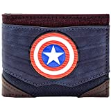 Cartera de Marvel Captain America estilo de traje con textura Azul