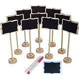 NUOLUX 10 Pces segni di segnaletica Mini tavoletta rettangolare con ripiano, 2 gessi liquidi e 10 pezzi Sostituisci pellicola