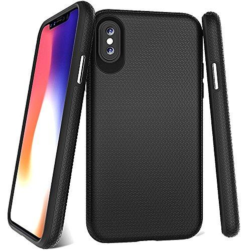 Catch A Fall Marke Hybrid Serie iPhone X Schutzhülle mit Easy Grip Textur und Einen Slim Minimal Design für Apple iPhone X (2017)-Matt Schwarz (Steeler Kopfhörer)