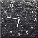 Wallario Glas-Uhr Echtglas Wanduhr Motivuhr • in Premium-Qualität • Größe: 30x30cm • Motiv: Muster Schwarze Schiefertafel Optik Steintafel
